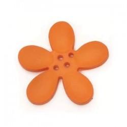 Orchidee résine 4 trous 30mm Orange