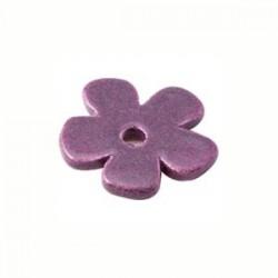 Petite fleur céramique mauve pailleté 24mm