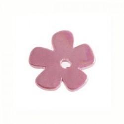 Petite fleur céramique mauve Améthyste émaillé 24mm
