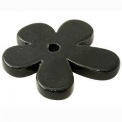Grande fleur céramique noir émaillé 50mm